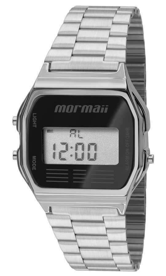 Relógio Mormaii Unissex Aço Vintage Digital Prata MOJH02AA/3P