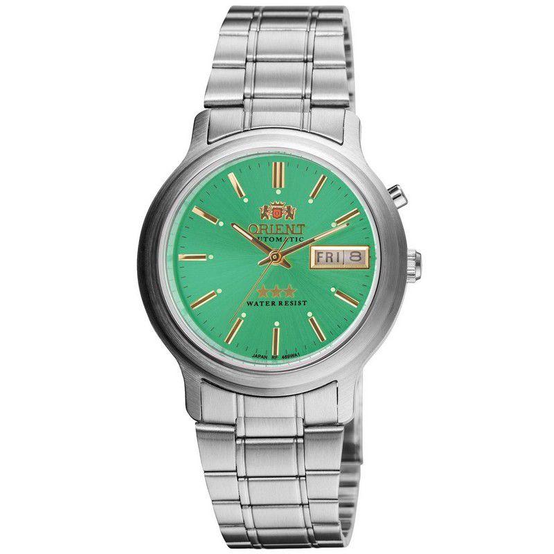 Relógio Orient Masculino Calendário Aço Inoxidável Prata Verde Automático 469WA1A E1SX