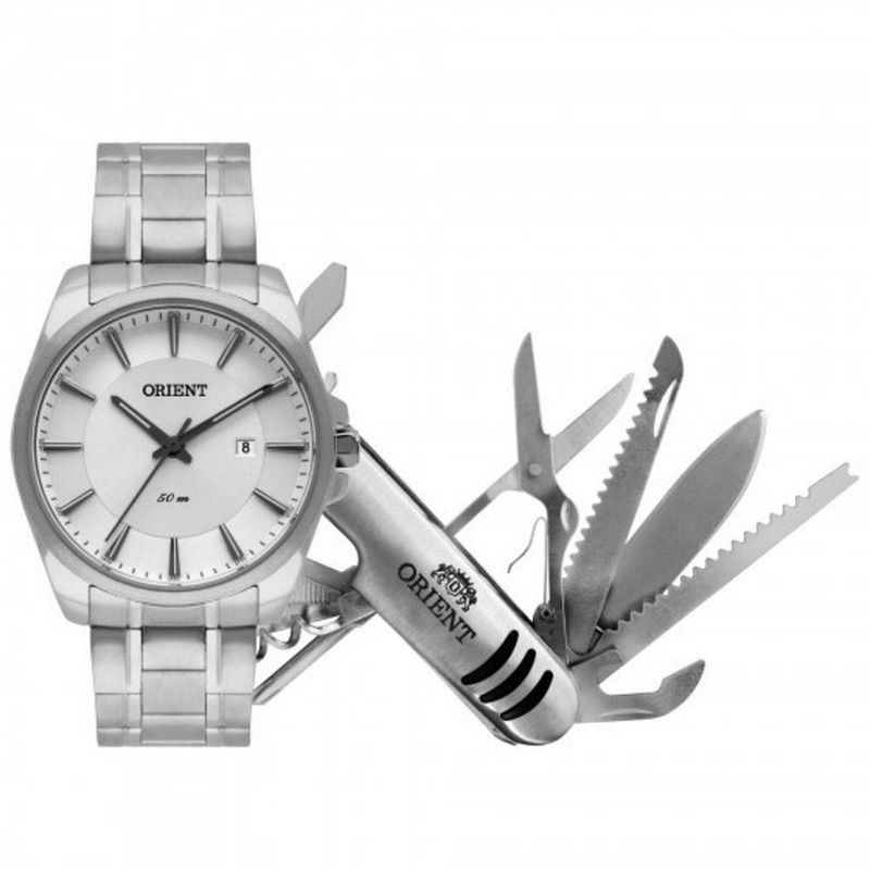 Relógio Orient Masculino Prata Aço Analógico Kit Canivete MBSS1320 KW82S1SX