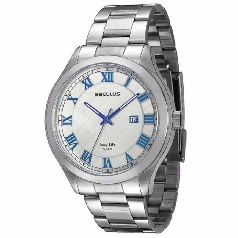 Relógio Seculus Masculino Analógico Prata Aço 23424GOSVNA1