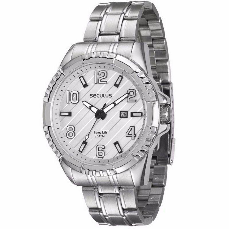 Relógio Seculus Masculino Analógico Prata Aço 28584GOSVNA1