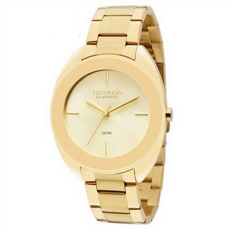 Relógio Technos Feminino Aço Inoxidável Dourado St. Moritz Analógico 2035LUP/4X