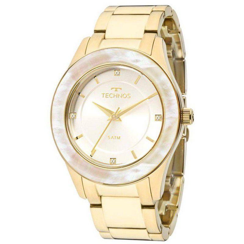 Relógio Technos Feminino Aço Inoxidável Dourado St. Moritz Analógico 2036MGK/4B
