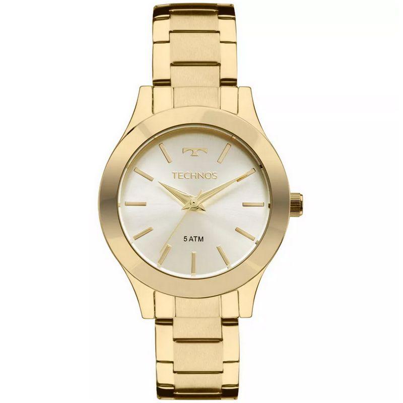 Relógio Technos Feminino Dourado Aço Inox Analógico 2035MKQ/4X