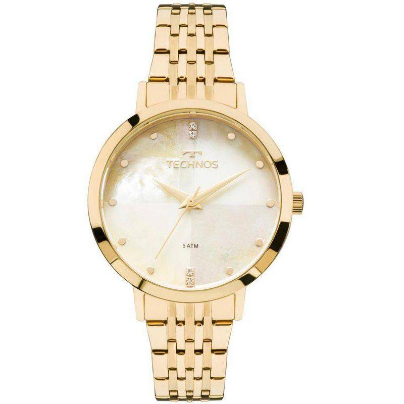 Relógio Technos Feminino Dourado Aço Inox Analógico 2036MJG/4B