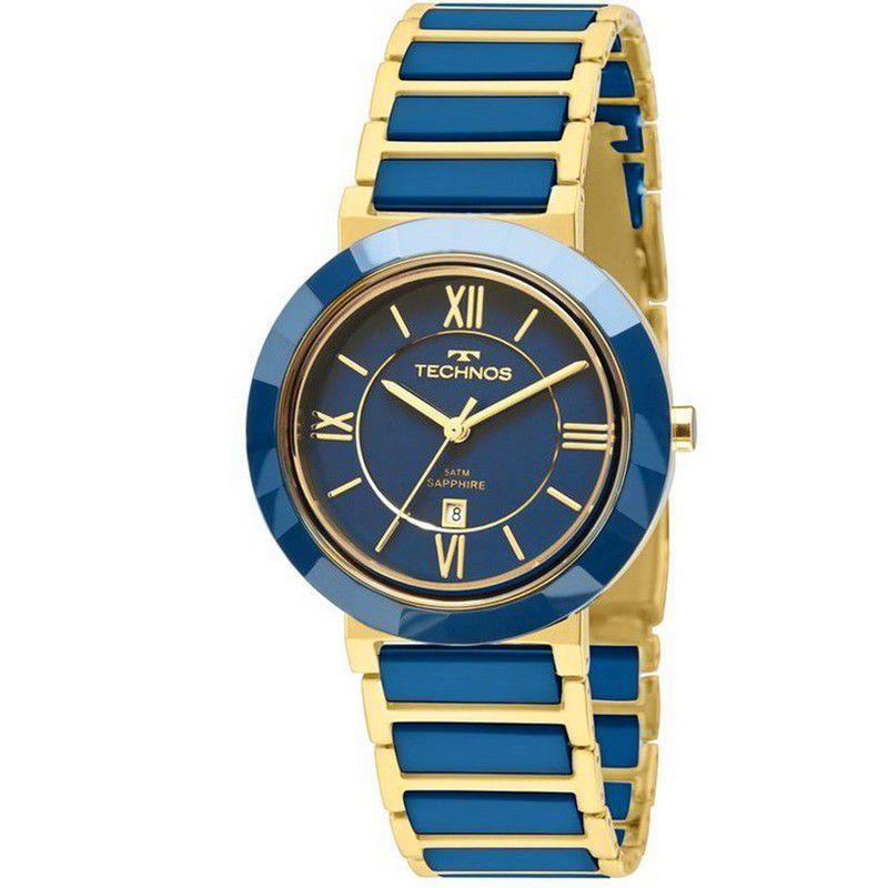 Relógio Technos Feminino Dourado Aço Inoxidável Elegance Ceramic Analógico 2015BV/5A