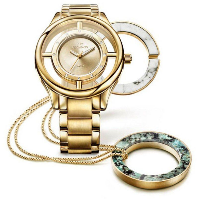 Relógio Technos Feminino Dourado Aço Inoxidável Kit Colar Analógico GL30FK/K4X