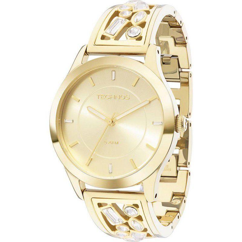 Relógio Technos Feminino Dourado Aço Inoxidável Swarovski Analógico 2035LZB/4X