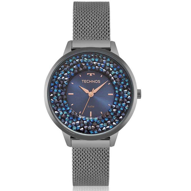 Relógio Technos Feminino Grafite Aço Inox Swarovski 2035MQC/5A