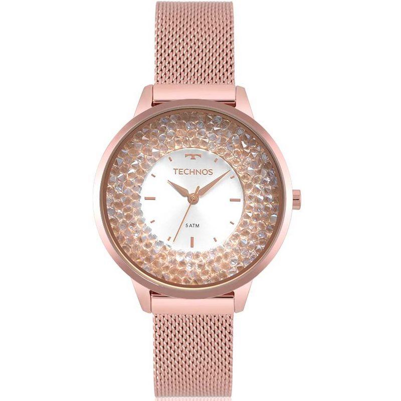 Relógio Technos Feminino Rosé Gold Aço Inox Swarovski 2035MQB/5K