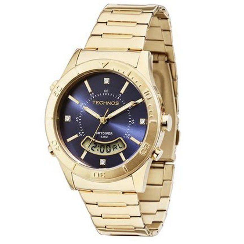 Relógio Technos Feminino Skydiver Dourado Aço Inox Cronógrafo T205FS/4A