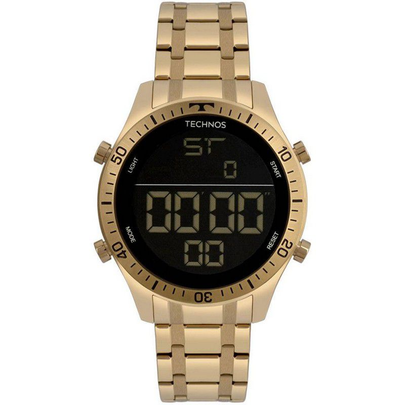 Relógio Technos Masculino Aço Inoxidável Dourado Digital Cronógrafo T02139AD/4P