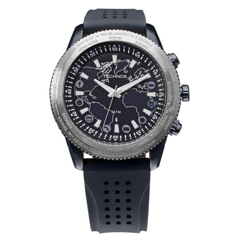 Relógio Technos Masculino Connect Azul Silicone Hora Mundi 753AB/8A