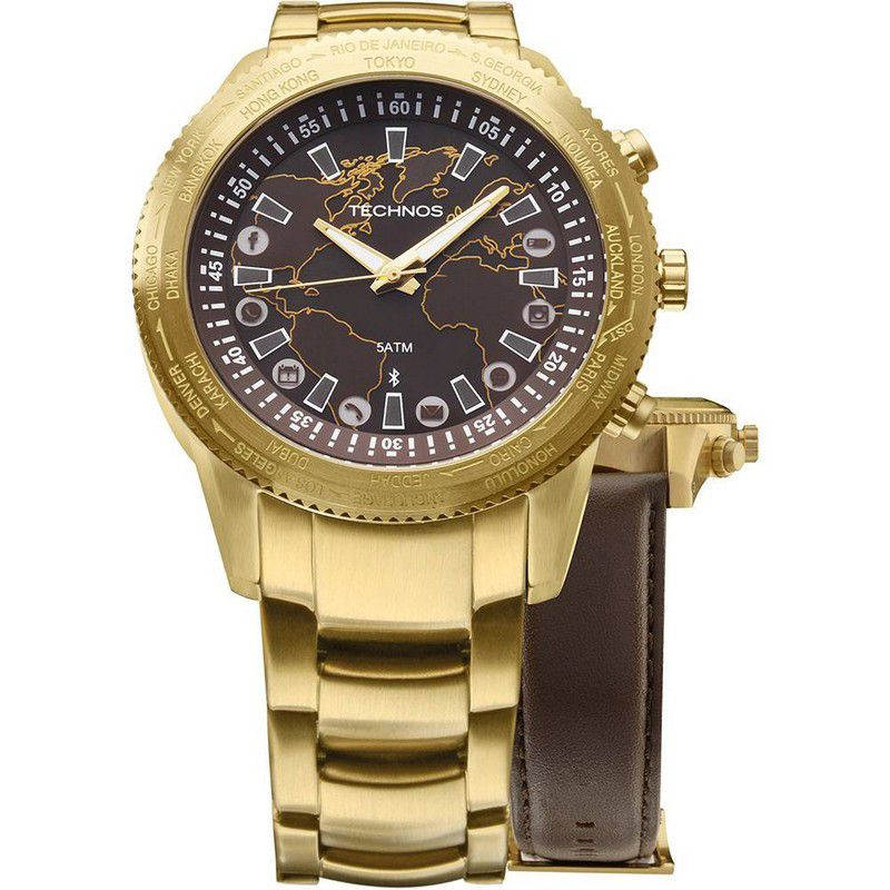 Relógio Technos Masculino Connect Dourdo Aço Inox Couro Hora Mundi 753AC/4M