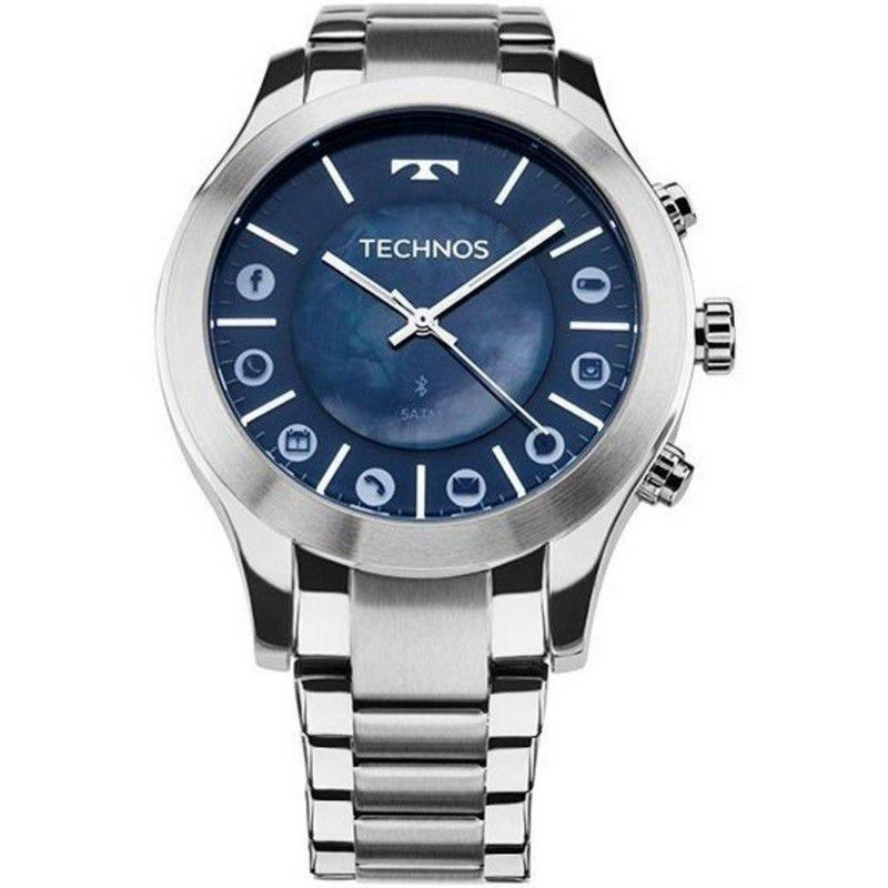 Relógio Technos Masculino Connect Prata Aço Inox 753AF/1A