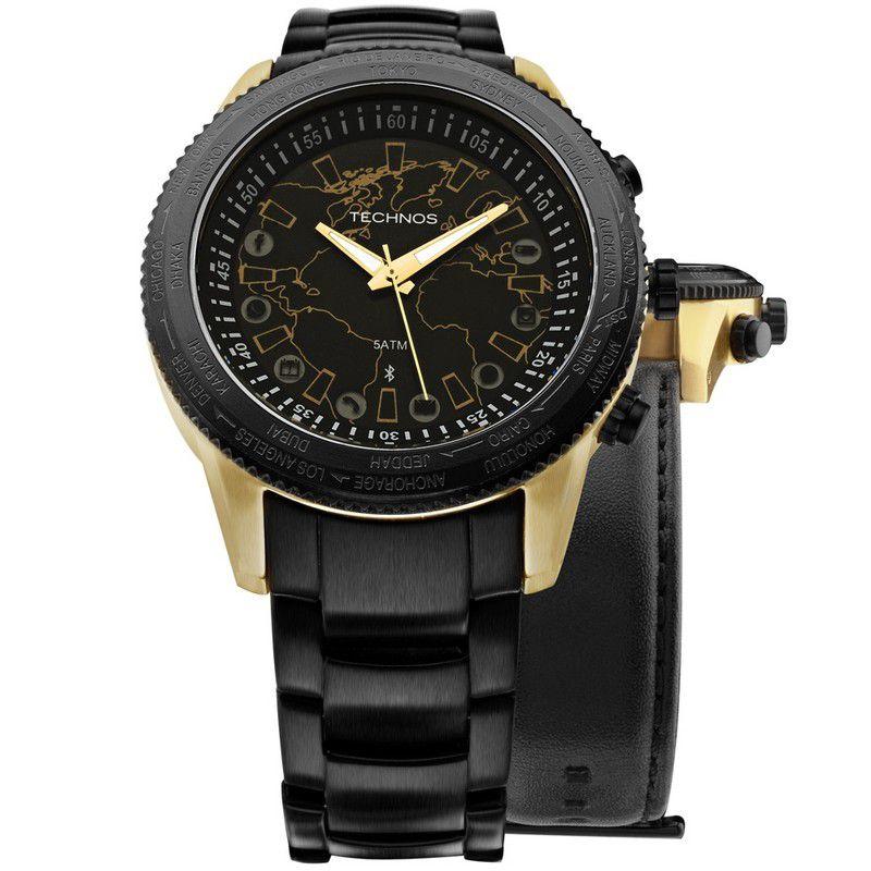 Relógio Technos Masculino Connect Preto Aço Inox Couro Hora Mundi 753AA/4P