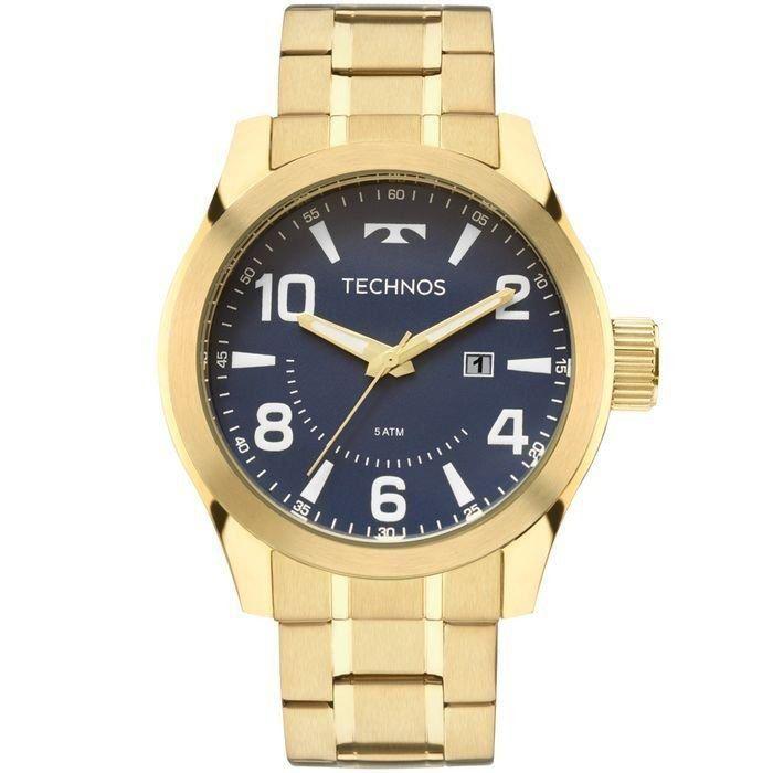 Relógio Technos Masculino Dourado Aço Inox Analógico 2115MGQ/4A