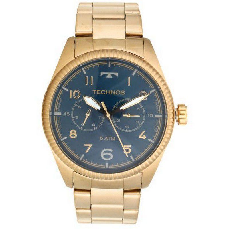 Relógio Technos Masculino Dourado Aço Inox Analógico 6P25BL/4A