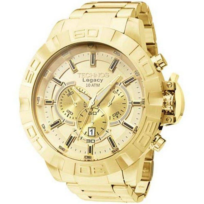 Relógio Technos Masculino Legacy Dourado Aço Inox Cronógrafo JS25BA/4X