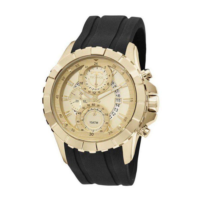 Relógio Technos Masculino Legacy Dourado Silicone Cronógrafo JS15EK/8P