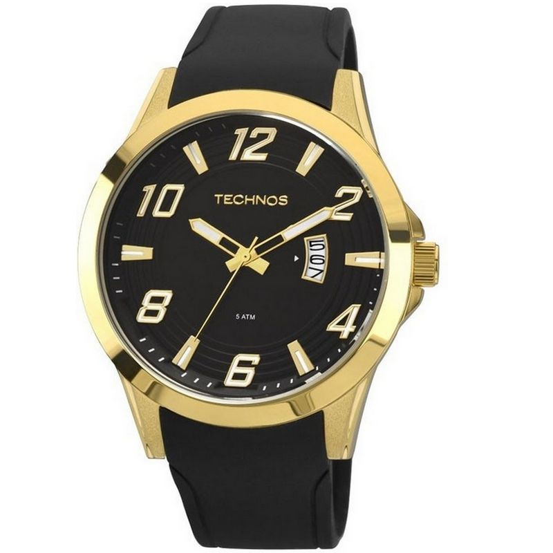 Relógio Technos Masculino Performance Race Dourado Silicone Analógico 2115KQA/8P