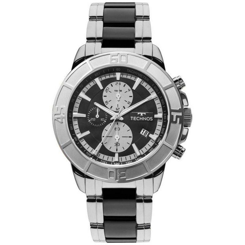 Relógio Technos Masculino Prata Aço Inox Ceramic Cronógrafo JS15EU/1P