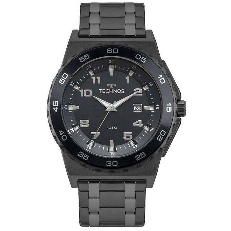 Relógio Technos Masculino Preto Aço Inoxidável Performance Analógico 2115MQN/4A