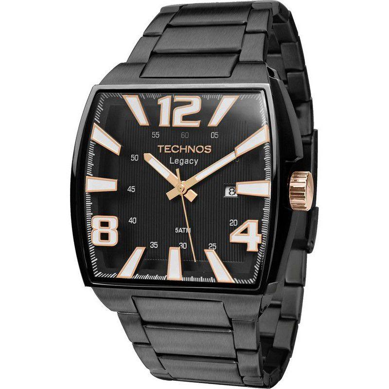 Relógio Technos Masculino Preto Legacy Aço Inoxidável Analógico 2315ABF/1P