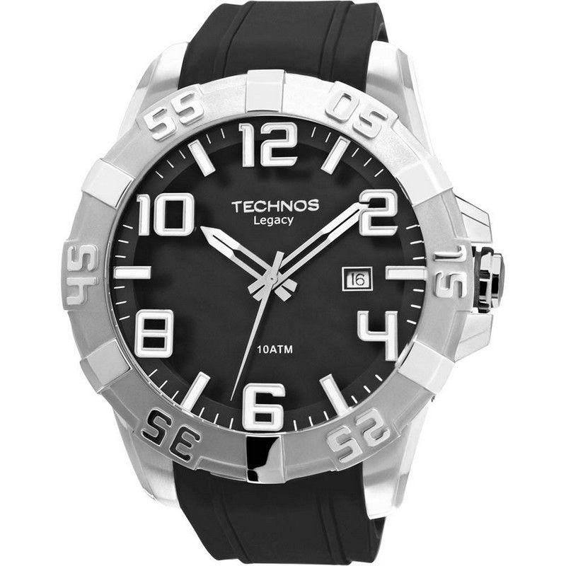 Relógio Technos Masculino Preto Legacy Silicone Analógico 2315AAG/8P