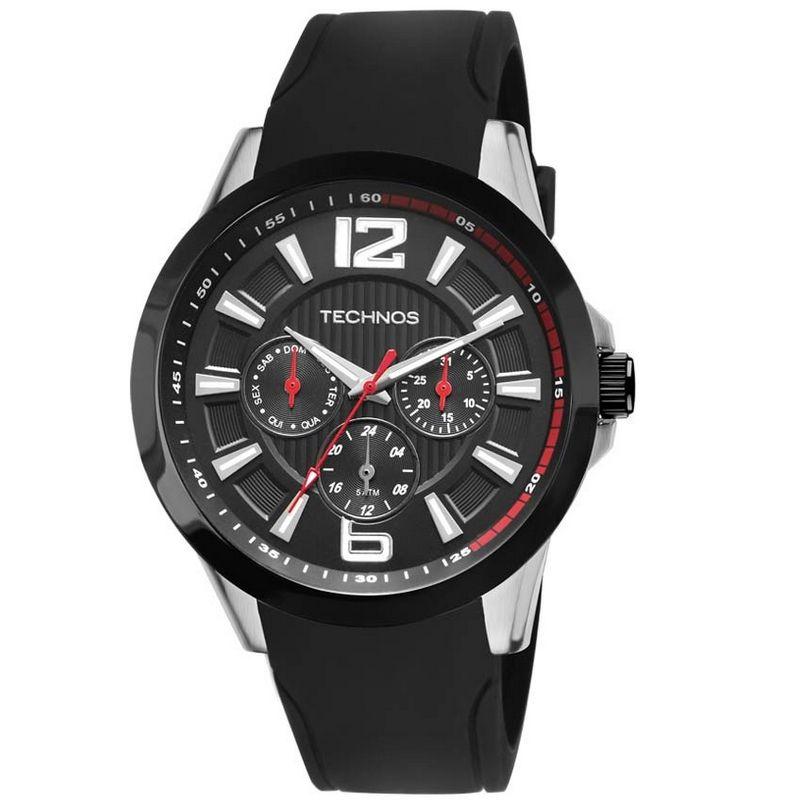 Relógio Technos Masculino Preto Silicone Performance Racer Analógico 6P29AHC/8P