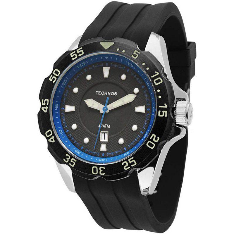 Relógio Technos Masculino Silicone Preto Calendário Analógico 2115KPB/8P