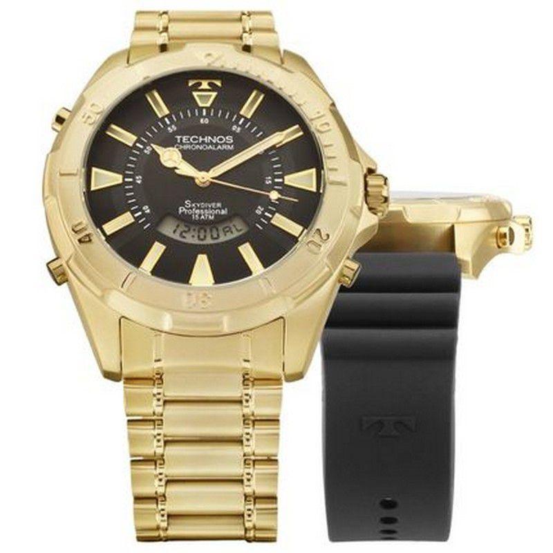 Relógio Technos Masculino Skydiver Dourado Troca Pulseira Aço Inox Silicone Cronógrafo T205FW/4P