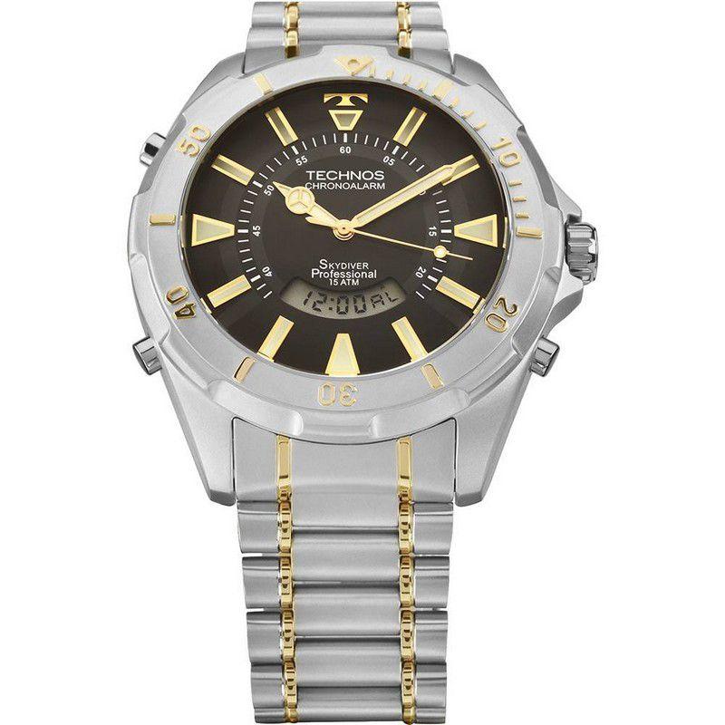 Relógio Technos Masculino Skydiver Prata Aço Inox Cronógrafo T205FQ/5P