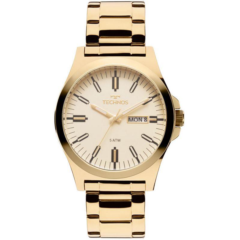Relógio Technos Masculino Steel Aço Inox Dourado Analógico 2305AY/4X