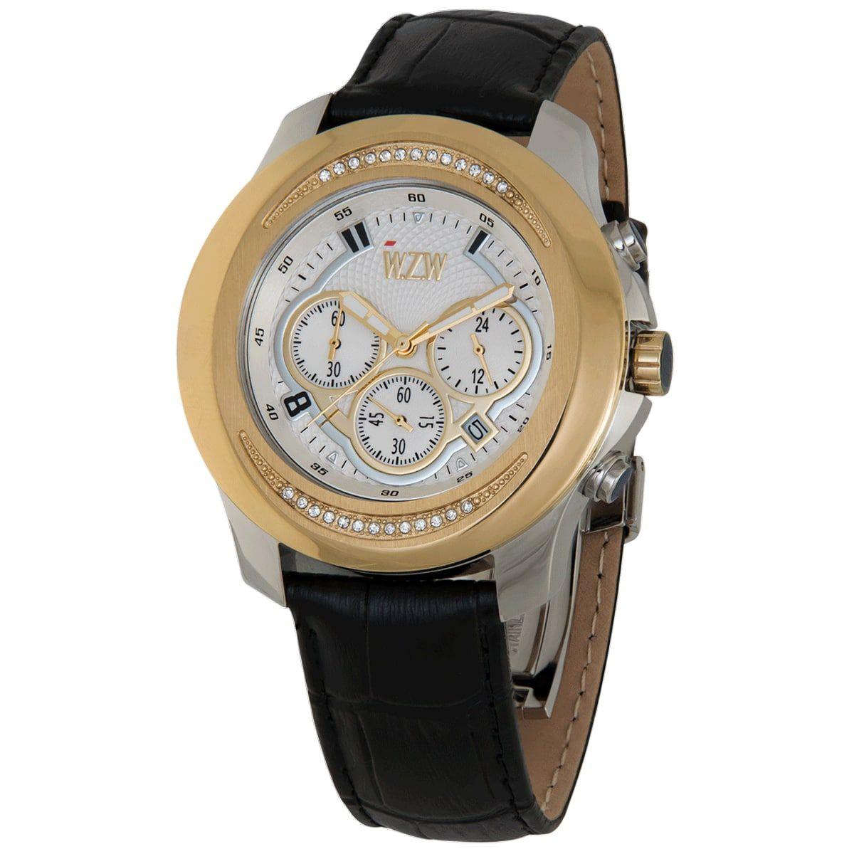 Relógio W.Z.W Feminino Couro Cronógrafo Multi Função WZW-7266
