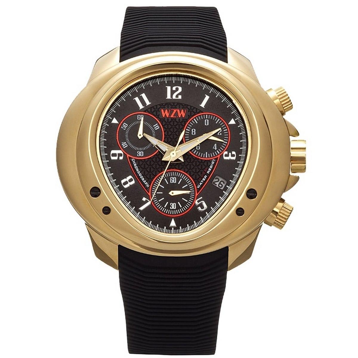 Relógio W.Z.W Masculino Cronógrafo Borracha Preto Big Case Esportivo WZW-7200
