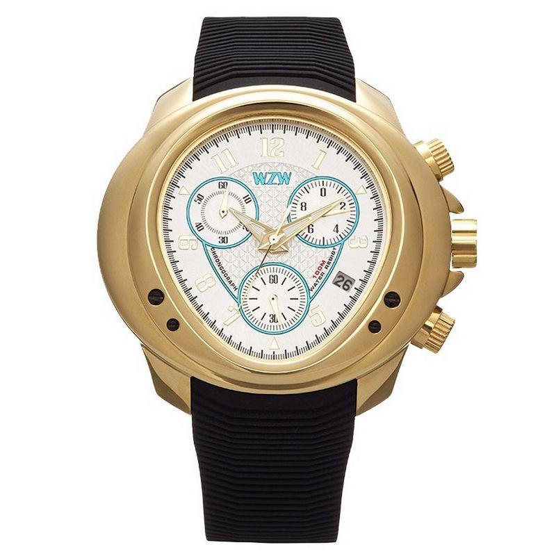 Relógio W.Z.W Masculino Cronógrafo Borracha Preto Big Case Esportivo WZW-7201