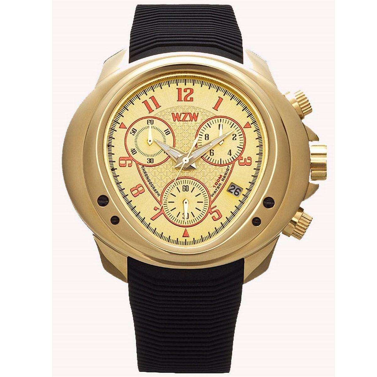 Relógio W.Z.W Masculino Cronógrafo Borracha Preto Big Case Esportivo WZW-7202