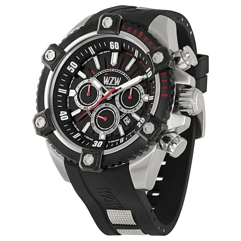 Relógio W.Z.W Masculino Cronógrafo Borracha Preto Big Case Esportivo WZW-7246