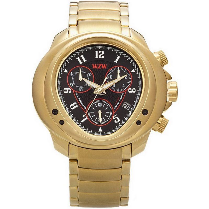 Relógio W.Z.W Masculino Dourado Cronógrafo Aço Inoxidável Big Case WZW-7205