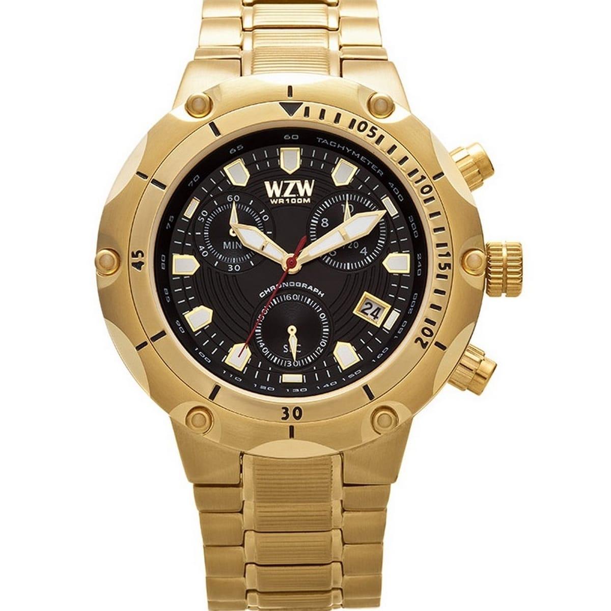 Relógio W.Z.W Masculino Dourado Cronógrafo Aço Inoxidável Big Case WZW-7215