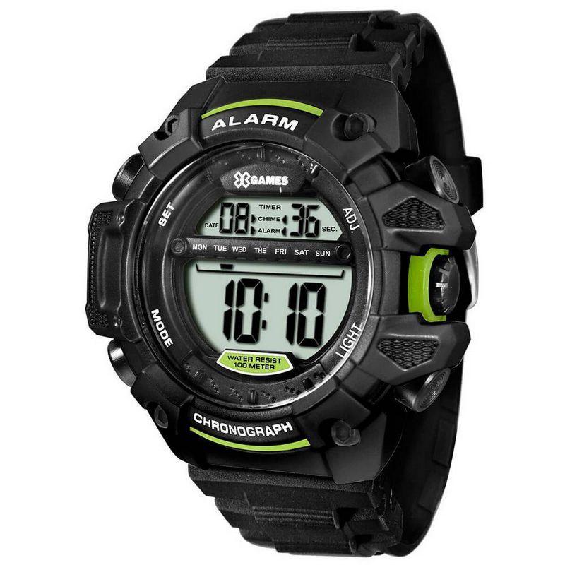 Relógio X-Games Masculino Preto Digital Cronógrafo Silicone XMPPD397 BXPX