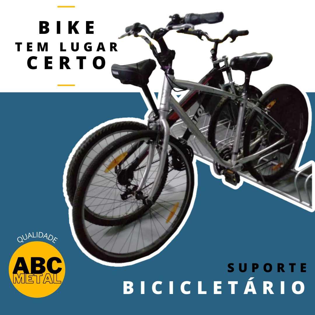 SUPORTE BICICLETÁRIO DE CHÃO PARA 08 BICICLETAS PARA GRAMA COM ESTACA