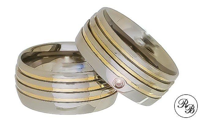 Aliança de aço inox abaulada com pedra | 3 Frisos | 3 Filetes de ouro | 9 mm