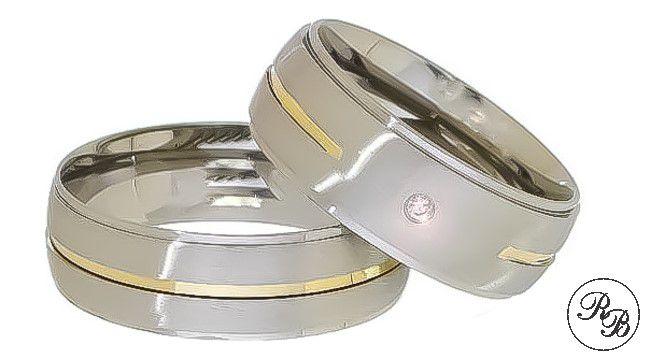 Aliança de aço inox abaulada com pedra | Fosca | Friso | Filete de ouro | 8 mm