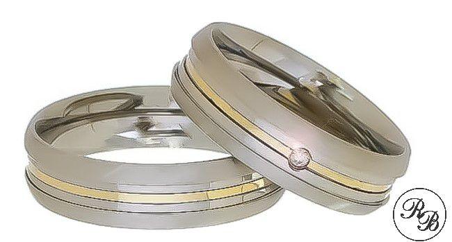 Aliança de aço inox abaulada com pedra | Rebaixo | Friso | Filete de ouro | 6 mm