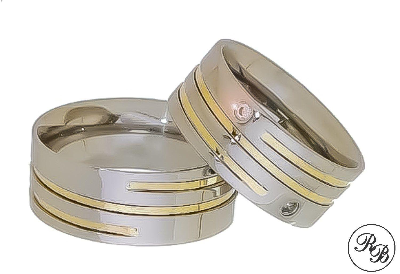 Aliança de aço inox reta com 2 pedras | Friso Rosca | Filete de ouro | 8 mm RAFAELA BONITA SEMIJOIAS