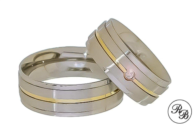 Aliança de aço inox reta com pedra | Fosca | Friso | Filete de ouro | 6 mm