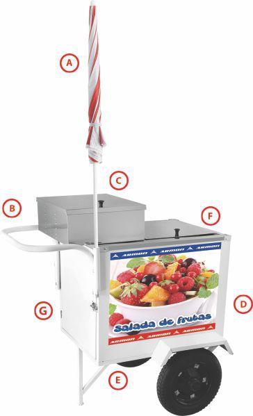 Carrinho de Salada de Frutas Armon CCSFL019 Inox