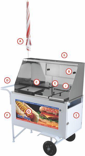 Carrinho Hot Dog e Lanche Luxo Armon XDLM007 Inox